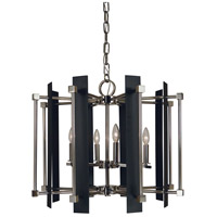 Louvre 6 Light 26 inch Polished Nickel with Matte Black Accents Chandelier Ceiling Light