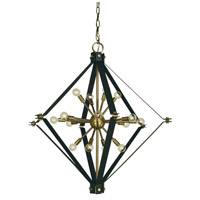 Axis 16 Light 37 inch Antique Brass/Matte Black Foyer Chandelier Ceiling Light