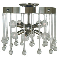 Waterfall 8 Light 14 inch Polished Nickel Semi-Flush Mount Ceiling Light