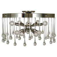 Waterfall 10 Light 21 inch Polished Nickel Semi-Flush Mount Ceiling Light