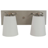 Framburg 4852SP/PN/WH Mercer 2 Light 15 inch Satin Pewter with Polished Nickel Bath Sconce Wall Light