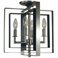 Symmetry 4 Light 14 inch Brushed Nickel with Matte Black Accents Semi Flush Mount Ceiling Light