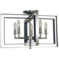 Symmetry 5 Light 22 inch Brushed Nickel with Matte Black Accents Semi Flush Mount Ceiling Light