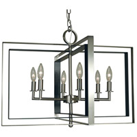 Symmetry 6 Light 26 inch Brushed Nickel with Matte Black Accents Chandelier Ceiling Light