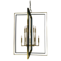 Symmetry 10 Light 33 inch Antique Brass with Matte Black Foyer Chandelier Ceiling Light in Antique Brass/Matte Black