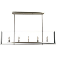 Framburg 4869BN/MBLACK Symmetry 5 Light 40 inch Brushed Nickel with Matte Black Island Chandelier Ceiling Light in Brushed Nickel/Matte Black