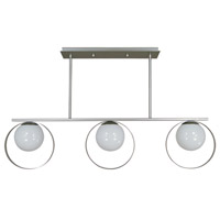 Orabelle 3 Light 42 inch Satin Pewter/Polished Nickel Island Chandelier Ceiling Light