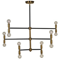 Parallax 12 Light 38 inch Antique Brass/Matte Black Chandelier Ceiling Light