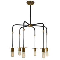 Juliette 5 Light 24 inch Antique Brass with Matte Black Chandelier Ceiling Light in Antique Brass/Matte Black