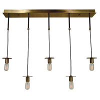 Juliette 5 Light 40 inch Antique Brass/Matte Black Island Chandelier Ceiling Light