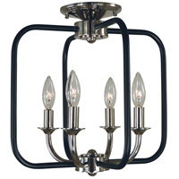Boulevard 4 Light 14 inch Polished Nickel with Matte Black Accents Semi Flush Mount Ceiling Light