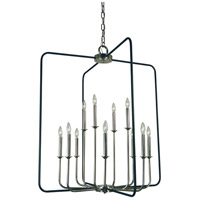 Framburg 4912PN/MBLACK Boulevard 12 Light 34 inch Polished Nickel with Matte Black Accents Chandelier Ceiling Light