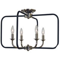 Boulevard 4 Light 22 inch Polished Nickel with Matte Black Accents Semi Flush Mount Ceiling Light