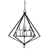 Framburg 4922PN/MBLACK Ice 12 Light 38 inch Polished Nickel with Matte Black Accents Chandelier Ceiling Light