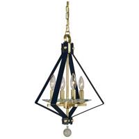 Framburg 4924SB/MBLACK Ice 4 Light 14 inch Satin Brass with Matte Black Accents Mini Chandelier Ceiling Light