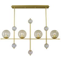 Framburg 4944SB Solaris 4 Light 40 inch Satin Brass Island Chandelier Ceiling Light