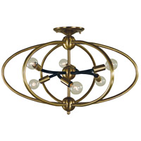Orbit 6 Light 23 inch Antique Brass with Matte Black Accents Semi Flush Mount Ceiling Light