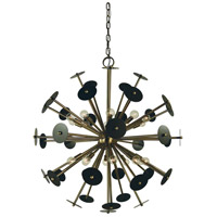 Framburg 4978AB/MB Apogee 20 Light 36 inch Antique Brass with Mahogany Bronze Chandelier Ceiling Light