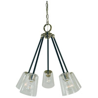 Framburg 4999PN/MBLACK Felix 5 Light 24 inch Polished Nickel with Matte Black Accents Chandelier Ceiling Light