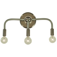 Candide 3 Light 15 inch Polished Nickel with Satin Pewter Accents Bath Vanity Wall Light