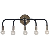 Framburg 5005PN/MBLACK Candide 5 Light 22 inch Polished Nickel with Matte Black Accents Bath Vanity Wall Light