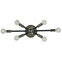 Framburg 5015PN/MBLACK Simone 6 Light 22 inch Polished Nickel with Matte Black Accents Bath Vanity Wall Light