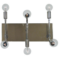 Fusion 6 Light 14 inch Polished Nickel with Matte Black Accents Bath Vanity Wall Light