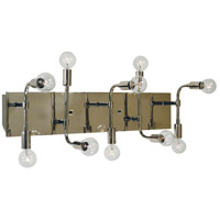 Fusion 10 Light 24 inch Polished Nickel with Matte Black Accents Bath Vanity Wall Light