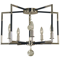 Felicity 5 Light 22 inch Polished Nickel with Matte Black Accents Semi Flush Mount Ceiling Light