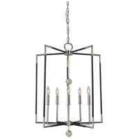 Felicity 5 Light 24 inch Polished Nickel with Matte Black Accents Chandelier Ceiling Light
