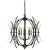 Monique 8 Light 36 inch Mahogany Bronze with Antique Brass Accents Chandelier Ceiling Light