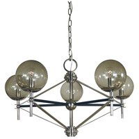 Framburg 5065PN/MBLACK Calista 5 Light 30 inch Polished Nickel with Matte Black Accents Dining Chandelier Ceiling Light