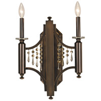Princessa 2 Light 14 inch Siena Bronze Sconce Wall Light in Sienna Bronze, Teak Crystal