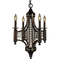 HA Framburg Princessa 5 Light Mini Chandelier in Siena Bronze w/ Ebony Accents & Clear Crystal 5074SBR