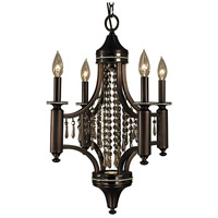 HA Framburg Princessa 4 Light Mini Chandelier in Siena Bronze with Ebony Accents with Teak Crystal 5074SBR/EB/T