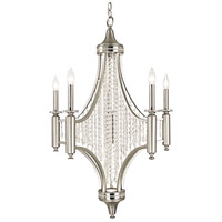 Princessa 5 Light 27 inch Satin Pewter with Polished Nickel Accents Dining Chandelier Ceiling Light in Clear Crystal