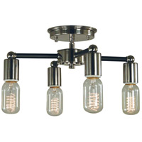 Nebula 4 Light 14 inch Polished Nickel with Matte Black Accents Semi Flush Mount Ceiling Light