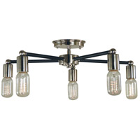 Nebula 5 Light 22 inch Polished Nickel with Matte Black Accents Semi Flush Mount Ceiling Light