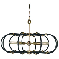 Pulsar 5 Light 30 inch Antique Brass with Matte Black Accents Chandelier Ceiling Light