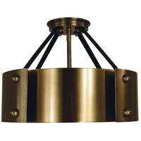 Framburg 5290AB/MBLACK Lasalle 6 Light 15 inch Antique Brass with Matte Black Accents Semi-Flush Mount Ceiling Light