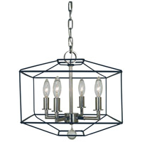 Framburg 5304MBLACK/PN Isabella 4 Light 13 inch Polished Nickel with Matte Black Accents Dual Mount Chandelier Ceiling Light Dual Mount