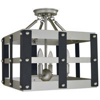 Framburg 5342SP/MBLACK Metro Artisan 4 Light 14 inch Satin Pewter/Matte Black Semi-Flush Mount Ceiling Light
