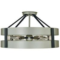 Framburg 5384SP/MBLACK Orion 6 Light 18 inch Satin Pewter/Matte Black Semi-Flush Mount Ceiling Light