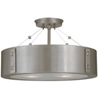 Oracle 4 Light 16 inch Satin Pewter with Polished Nickel Accents Semi-Flush Mount Ceiling Light