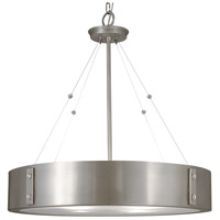 HA Framburg Oracle 4 Light Chandelier in Satin Pewter w/ Polished Nickel Accents 5395SP/PN