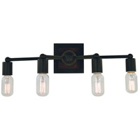 Framburg 5404MBLACK Modern Farmhouse 4 Light 20 inch Matte Black Sconce Wall Light