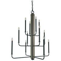 Framburg 5412MBLACK Loft 12 Light 40 inch Matte Black Foyer Chandelier Ceiling Light