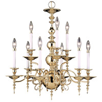 Framburg 7449PB Kensington 9 Light 28 inch Polished Brass Dining Chandelier Ceiling Light