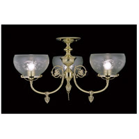 Chancery 3 Light 25 inch Polished Brass Semi-Flush Mount Ceiling Light