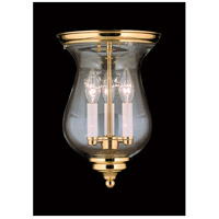 Jamestown 3 Light 9 inch Polished Brass Flush Mount Ceiling Light